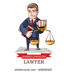Vector illustration of the character of the profession is a lawyer. Image of a lawyer, a representative of the legislative branch, a legal adviser isolated on a white background