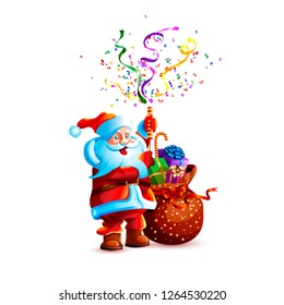Vector illustration character santa claus present gift bag smile slapstick flapper petard confetti serpentine holiday fun sticker emoji happy new year merry christmas mascot design white background