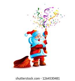 Vector illustration character santa claus present gift empty bag smile slapstick flapper petard confetti serpentine holiday sticker emoji happy new year merry christmas mascot design white background