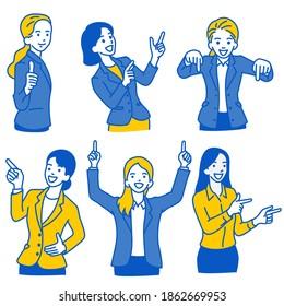 Illustration vectorielle ensemble de caractères d'une femme d'affaires pointant vers un espace vierge dans diverses poses; en pointant vers le haut, vers le bas, vers le côté avec le sourire. Plan, linéaire, art en ligne mince, croquis dessiné à la main, style simple.