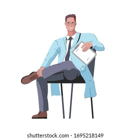 Vector illustration of a character of a smiling and stylish male doctor with glasses sitting on a chair with a medical folder in his hand. It represents a concept of doctors work, medicine protection