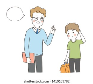 Vector illustration character teacher scolding a boy.School concept.Draw doodle cartoon style.