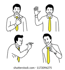 Vector illustration character of young businessman, office worker, in various gestures, holding pen writing blank space, pointing, hand waving, holding fist. Linear thin line art style.