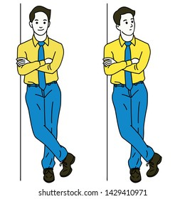 Vector illustration character of young businessman standing and lean against the wall, thinking somthing and smiling. Full length or body. Linear, thin line art, simple design.