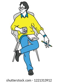 Vector illustration character of young man in casual clothes, sitting relax, holding cup of coffee, thinking and planning something as freelancer. Line, linear, hand drawn sketch design.