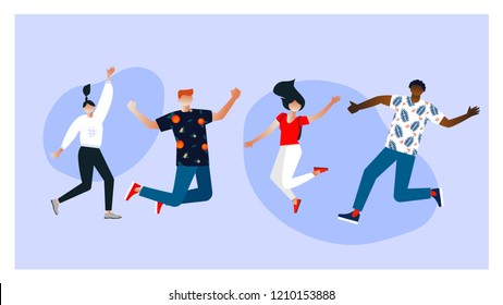 Vector illustration. Characters design. Group of young stylish joyful people jumping with raised hands. Happy positive young men and women rejoicing together. flat cartoon style.