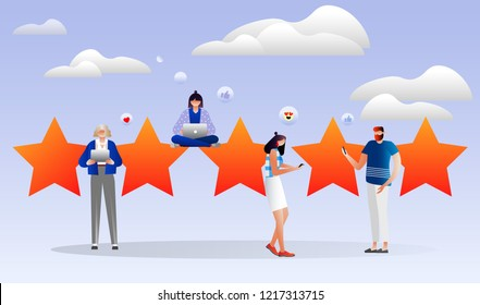 vector illustration. characters design. people leave online reviews about purchased products through the Internet, satisfied customers, the best work, high price 5 stars, successful work is the high