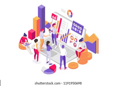 vector illustration. characters make an analysis of statistics and data. people consider on a laptop the presentation of the report in the form of infographics, confer at the workplace. Flat Isometric