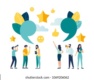 vector illustration of the characters. melenkie people leave online reviews about purchased products through the Internet. graphic design illustration for online store. good five star ratings