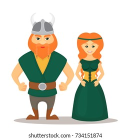 Vector illustration characters of Vikings, man and woman