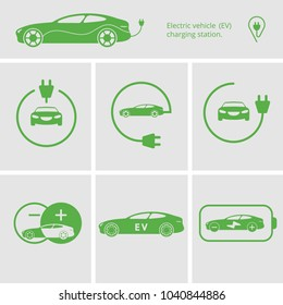 Vector illustration charging station for electric car. Icons pin point electric vehicle charging station. Isolated electric car. Symbols hybrid cars. Future concept.
