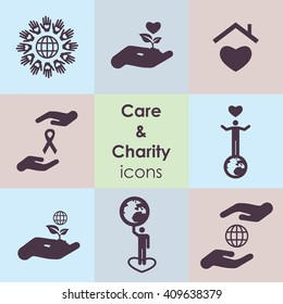 vector illustration / charity and care icons / abstract hands with ribbon charity logo / volunteer and planet logo / unity and love concept / global charity concept/ helpers and caregivers