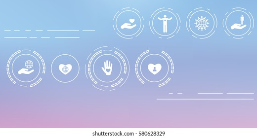 vector illustration of charity icons for help and care  concepts on abstract blurry background