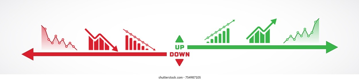 Vector illustration of charts and bars going up and down