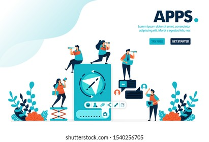 Vector illustration chat apps. People chatting to send message, data & document. Mobile apps to share link, photo & contact. Designed for landing page, web, banner, mobile, template, flyer, poster