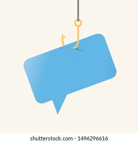 Vector illustration of chat bubble symbol on fishing hook. With copy space.