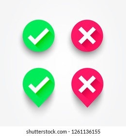 Vector Illustration Check box list icons set. Green checkmark OK and red X, Tick and Cross Signs, YES and NO button for vote