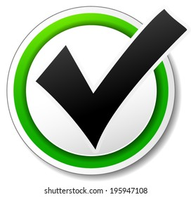 Vector illustration of check mark design icon on white background