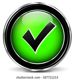 Vector illustration of check mark green icon on white background