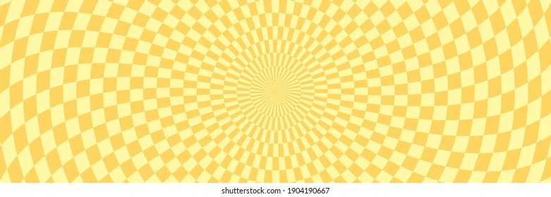 Vector illustration of checkered pattern with optical illusion. Op art abstract background. Long horizontal banner.