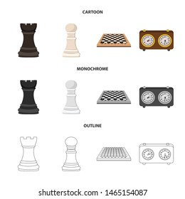 Vector illustration of checkmate and thin icon. Collection of checkmate and target stock vector illustration.