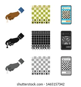 Vector illustration of checkmate and thin icon. Collection of checkmate and target stock symbol for web.