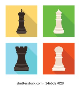 Vector illustration of checkmate and thin logo. Set of checkmate and target stock vector illustration.
