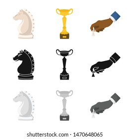 Vector illustration of checkmate and thin logo. Collection of checkmate and target stock symbol for web.