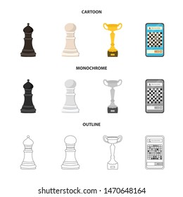Vector illustration of checkmate and thin sign. Collection of checkmate and target stock symbol for web.