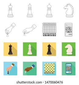 Vector illustration of checkmate and thin symbol. Collection of checkmate and target vector icon for stock.