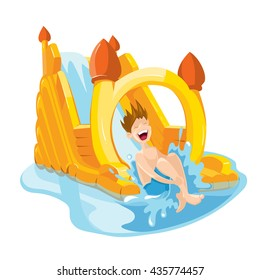 Vector illustration of cheerful boy rides on water hills. Picture isolate on white background