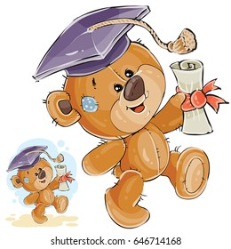 Vector illustration of a cheerful brown teddy bear in the graduation cap holding in his paw a university diploma. Print, template, design element