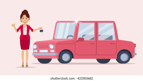 Vector illustration of a cheerful businesswoman standing near a new car and holding car key. Car seller, dealer, lottery winner. Flat style vector illustration