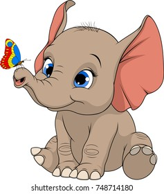 Vector illustration, cheerful cute kid elephant, playing with butterfly