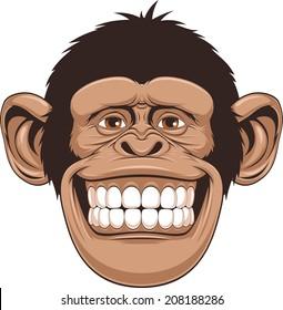 Vector illustration of cheerful monkeys