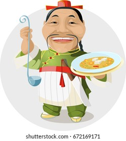 vector illustration. A cheerfully Chinese chef, wearing a national Chinese costume, is holding a bowl of soup