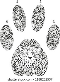Vector illustration of a cheetah camouflage in the shape of a cheetah trace