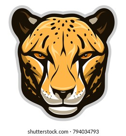 Vector illustration of cheetah face. Can be used as mascot.