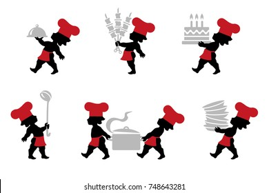 Vector illustration of Chef in chef's hat cooking in restaurant kitchen. Kitchener taking soup, BBQ, shashlik, torte, batch of dishes and cooking pot. Icons set of cook with kitchen utensils.