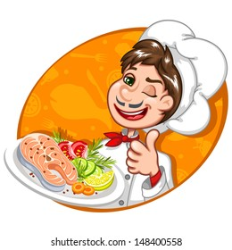 Vector illustration of a chef holding a plate of salmon fish with fresh vegetables. He is showing thumbs up.