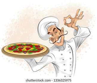 Vector illustration of a chef with pizza
