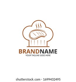 Vector illustration of chef's hat and grilled steak. Perfect for restaurant logo