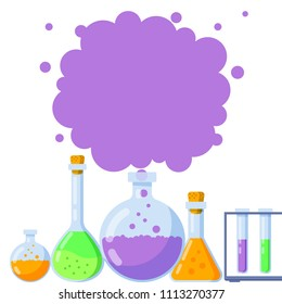 Vector illustration, chemistry icons set in a banner design. Laboratory flasks with different colorful fluids and space for text.