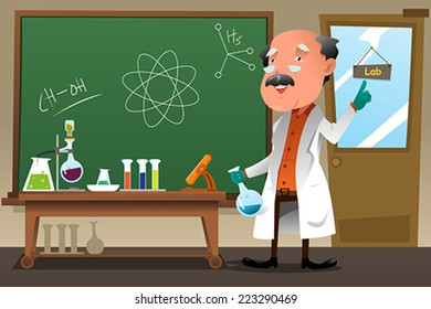 A vector illustration of chemistry professor working at the lab