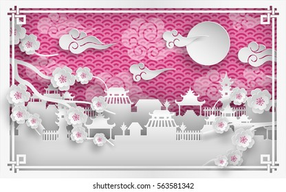 Vector illustration of cherry flowers branch, china town village on pink background with clouds, oriental vintage pattern frame for chinese new year greeting card, poster or banner, paper cut style