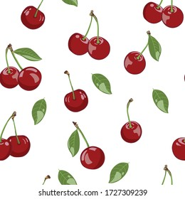 vector illustration, cherry with leaves, seamless pattern