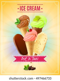 Vector illustration with cherry pistachio chocolate ice cream in waffle cones and nuts eskimo pie in realistic style