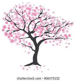 vector illustration of cherry tree in blossom