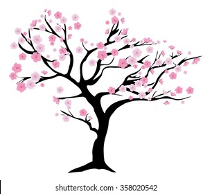 vector illustration of a chery tree in blossom