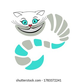 Vector illustration of a Cheshire cat with a body and a tail. Alice in Wonderland. Cat face. The head of a cat with a large mustache. The Cheshire cat smiled. Flat.